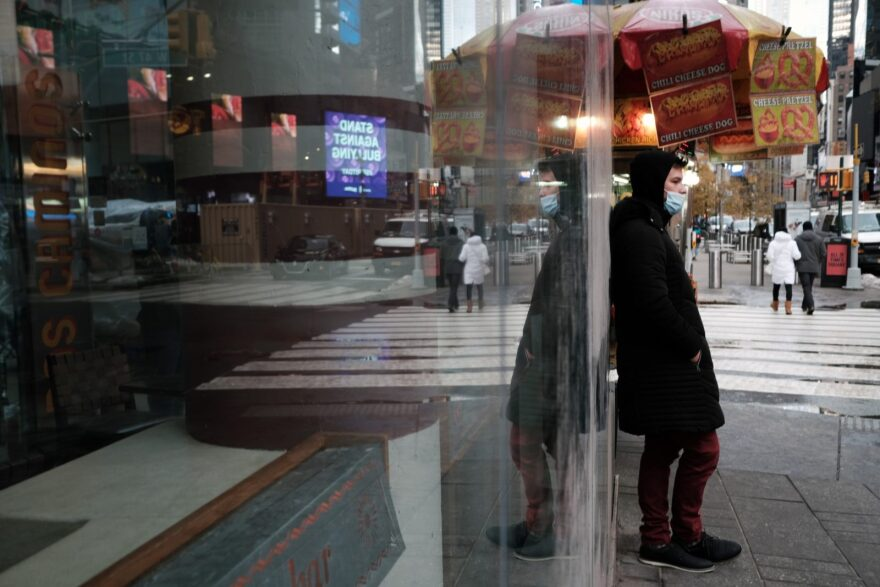 The Broadway theater district in Manhattan stands mostly empty and closed as Covid-19 restrictions keep performances closed in New York City.