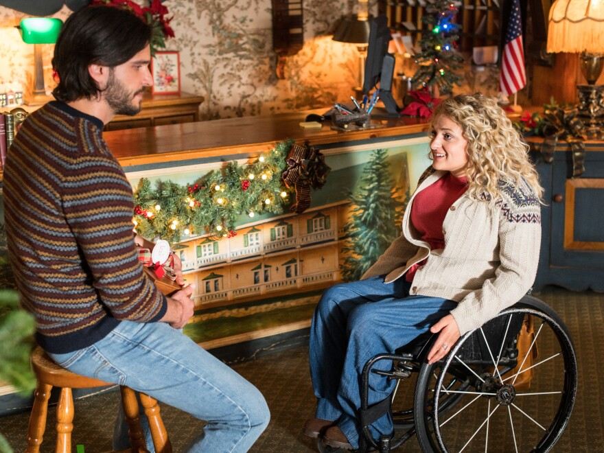 Ali Stroker and Daniel di Tomasso in Lifetime's<em> Christmas Ever After.</em>