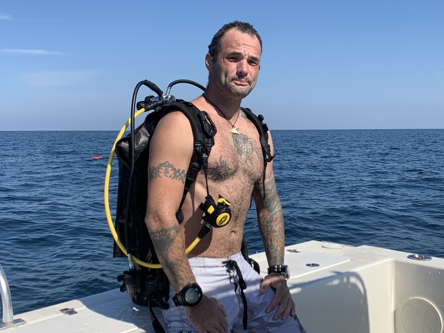 Shawn Campbell, 38, is a dive master at Narcosis Scuba in Tarpon Springs but used to have a very different career. The combat medic served three tours in Iraq with the Army until he was wounded and had to retire.