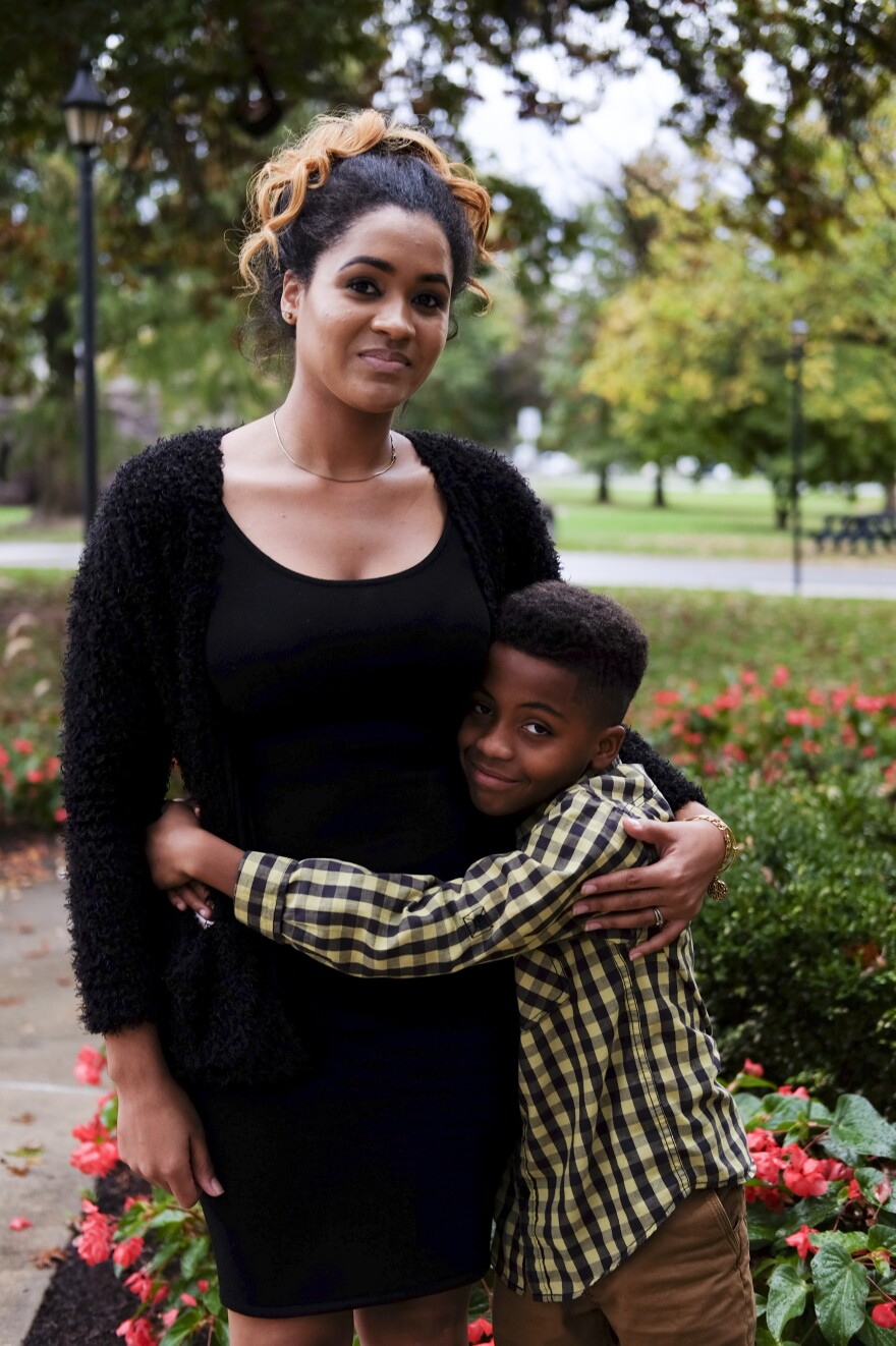 Brinita Ricks, a graduate of the single-parents program, and her son, Troy, 10.