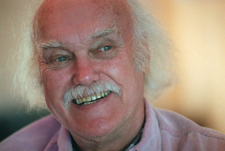 Ram Dass smiles during an interview at his San Anselmo, Calif., home in 1998.