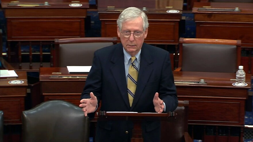 Senate Minority Leader Mitch McConnell responds after the Senate voted 57-43 to acquit former President Donald Trump.