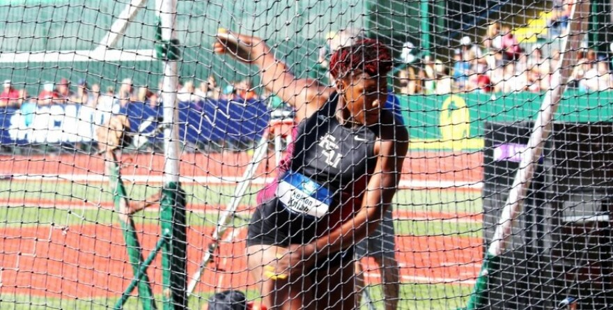 Kellion Knibb, a Florida State University Junior, during the NCAA Women's Discuss Throwing Competition, June 11, 2016.
