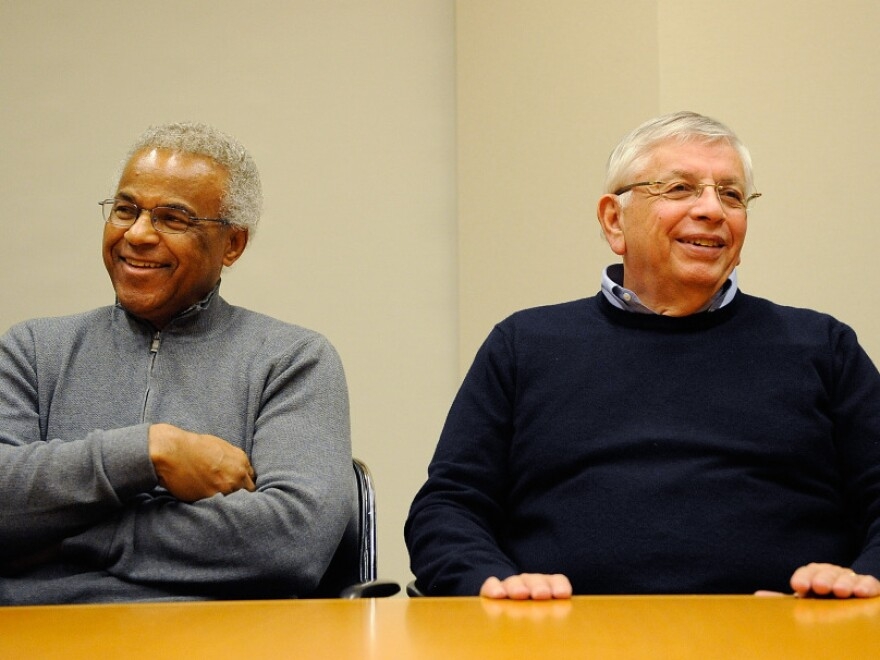 NBA Commissioner David Stern (right) and union executive director Billy Hunter speak to the media Saturday in New York City to announce a tentative labor agreement that would end the 149-day lockout.