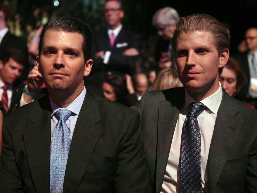 """Donald Trump's sons, Donald Trump Jr. (left) and Eric Trump, were prominently mentioned in the online invitation to the Jan. 21 fundraiser. A spokeswoman for Trump transition team said the two men """"are not involved in any capacity"""" with the event."""