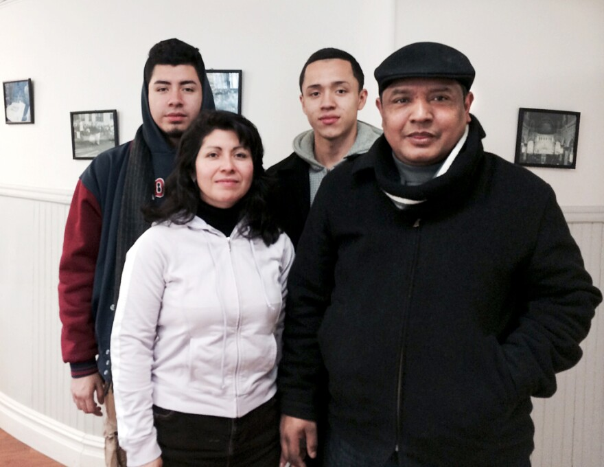 Alex Sanchez with his wife, Blanca, and sons Duvan and Irvin. Sanchez has been eligible to live and work legally in the U.S. since 2001, when his home country, El Salvador, experienced a major earthquake.