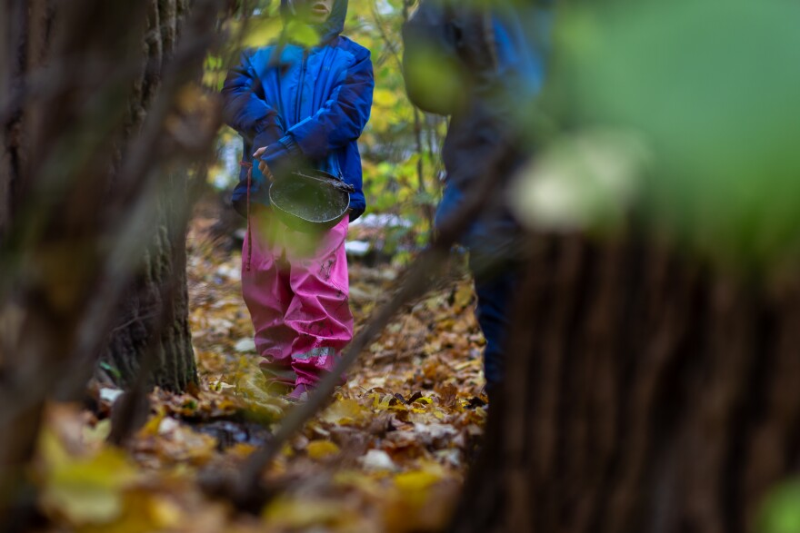Children play at the Kallemach forest preschool in Munich, Germany, on Nov. 3, 2020.