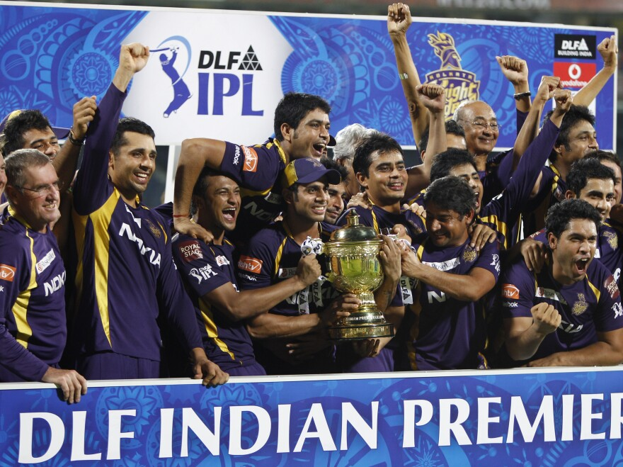The Kolkata Knight Riders celebrate their win against the Chennai Super Kings in the Indian Premier League final in Chennai, India, on May 27, 2012. Citing security concerns, the IPL announced Tuesday that it won't feature Sri Lankan players in the city.