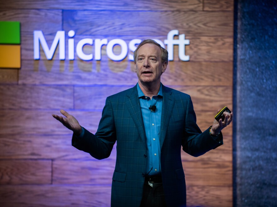 Brad Smith, president of Microsoft Corp., speaks during a presentation on affordable housing in Bellevue, Wash., on Thursday. Microsoft Corp. said it will spend $500 million to develop affordable housing and help alleviate homelessness in the Seattle area.