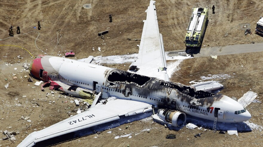 This aerial photo shows the wreckage of the Asiana Flight 214 airplane after it crashed at the San Francisco International Airport on Saturday.