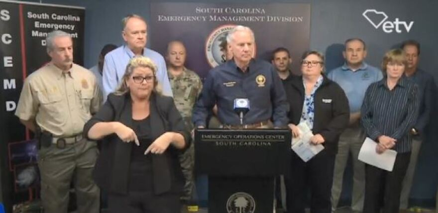 South Carolina Gov. Henry McMaster gives an update on flooding from Florence Sept. 18.