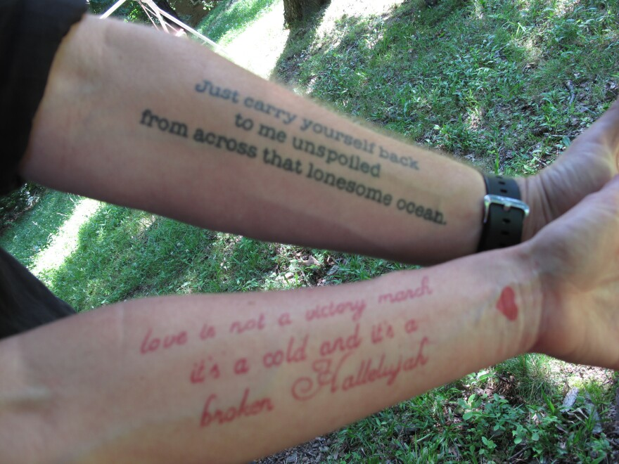 "A match made in ink heaven: Jason Isbell has the lines from Bob Dylan's ""Boots of Spanish Leather"" on his arm, while his wife, singer-songwriter Amanda Shires, has lines from Leonard Cohen's ""Hallelujah"" on hers."