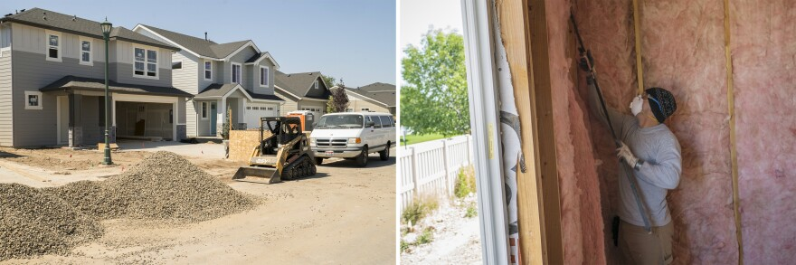 (Left) Exterior of homes at The Village at Sutherland Farm in Meridian, Idaho. (Right) Insulation installer William Matton works on a home at the complex.