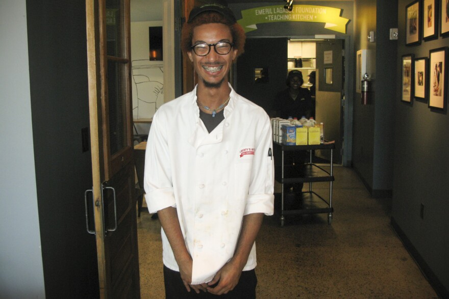 Jason Johnson trains at Liberty's Kitchen, a workforce development program for young people. Johnson hopes to open his own restaurant featuring live jazz.