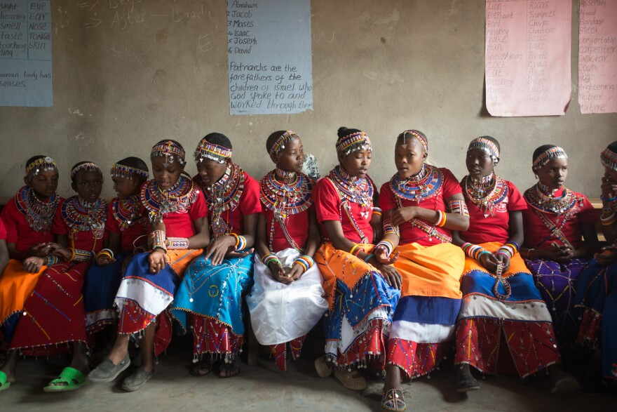 As part of an alternative rite of passage, these Maasai girls wear beaded jewelry given to them by their mothers.