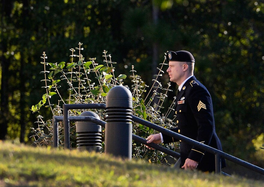 U.S. Army Sgt. Bowe Bergdahl enters the Fort Bragg military courthouse for his sentencing hearing on Wednesday in Fort Bragg, N.C.