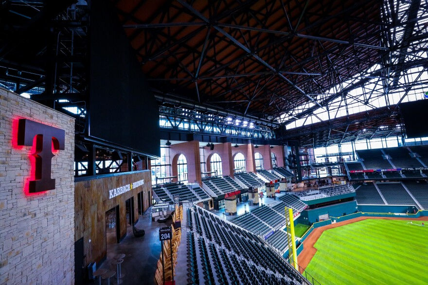 A view of the Rangers' new Globe Life Field shows the outfield, the foul pole and parts of the retractable roof.