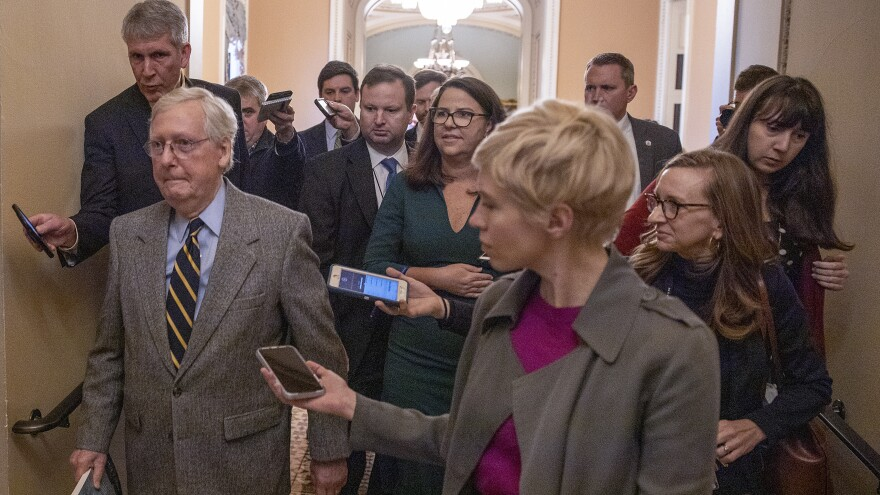 Senate Majority Leader Mitch McConnell, R-Ky., at the Capitol on Friday.