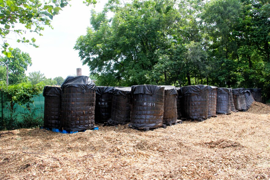 Containers of composted chicken manure at Perennial City Composting's farm in Visitation Park on June 19, 2020.