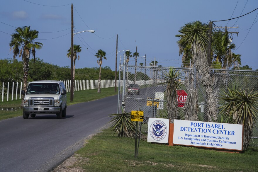 Outside the Port Isabel Detention Center in Los Fresnos, Texas, in July 2018.