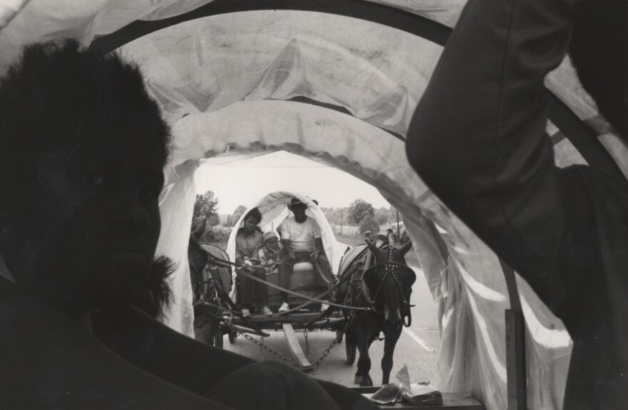 After trouble with equipment, planning and a downpour, the Mule Train left Marks, Miss., for Washington, D.C., on May 13, 1968.