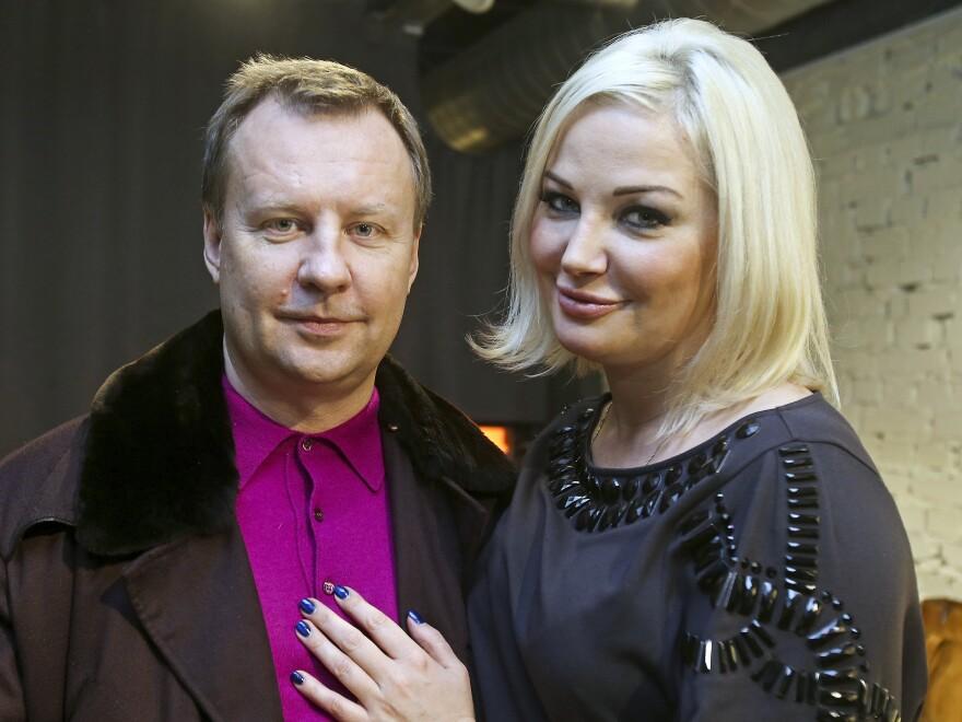 Denis Voronenkov was shot in the head on a sidewalk in Ukraine's capital city, Kiev, on Thursday. He's seen here with his wife, Maria Maksakova, in February.