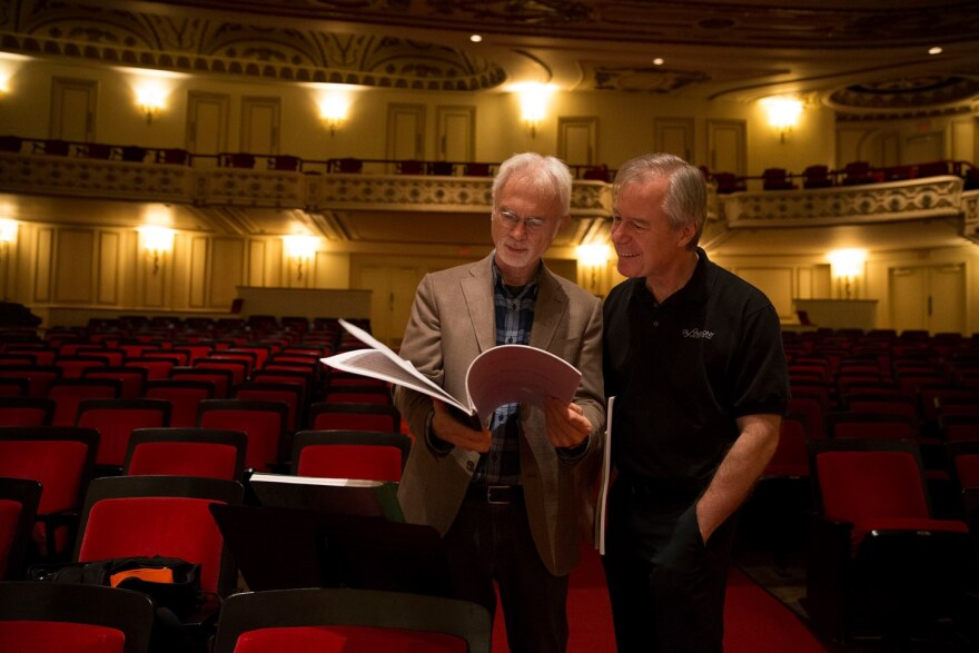 Composer John Adams talks with Symphony music director David Robertson at Powell Hall in this photo taken in the fall of 2016.