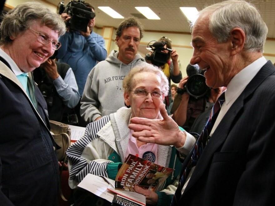 Republican presidential contender Ron Paul campaigning in Atlantic, Iowa, on Thursday (Dec. 29, 2011).