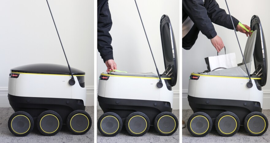 The robots from Starship Technologies have removable linings to keep the delivery items they are carrying at the appropriate temperature.