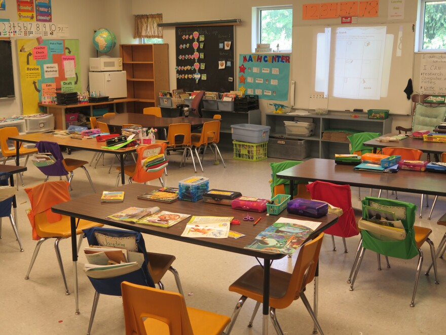 An empty elementary school classroom in Westerville. It's expected classrooms will have to be reconfigured if students will return to school buildings for the '20-'21 school year.