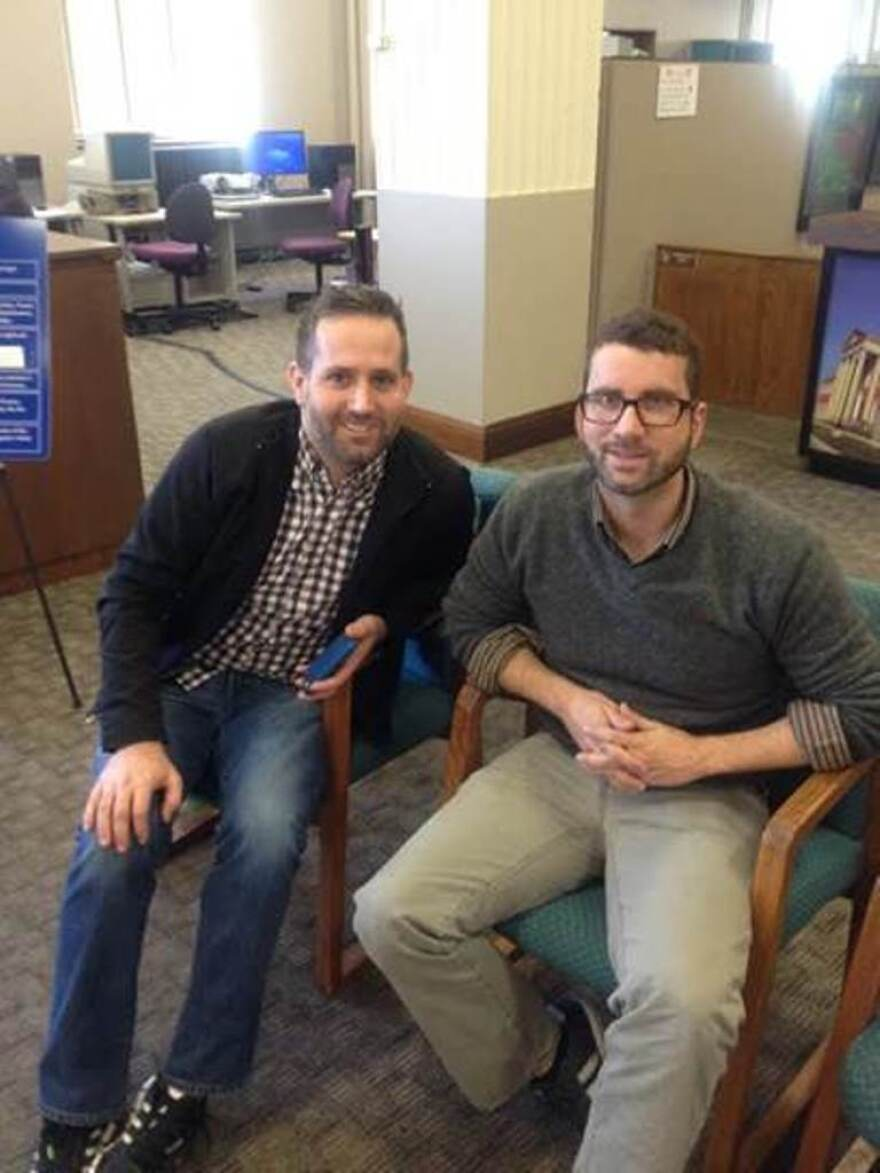 John Kenny Rodnicks (L) and Robb Gann (R) were the first same-sex couple to get a marriage license in Jackson County on November 7