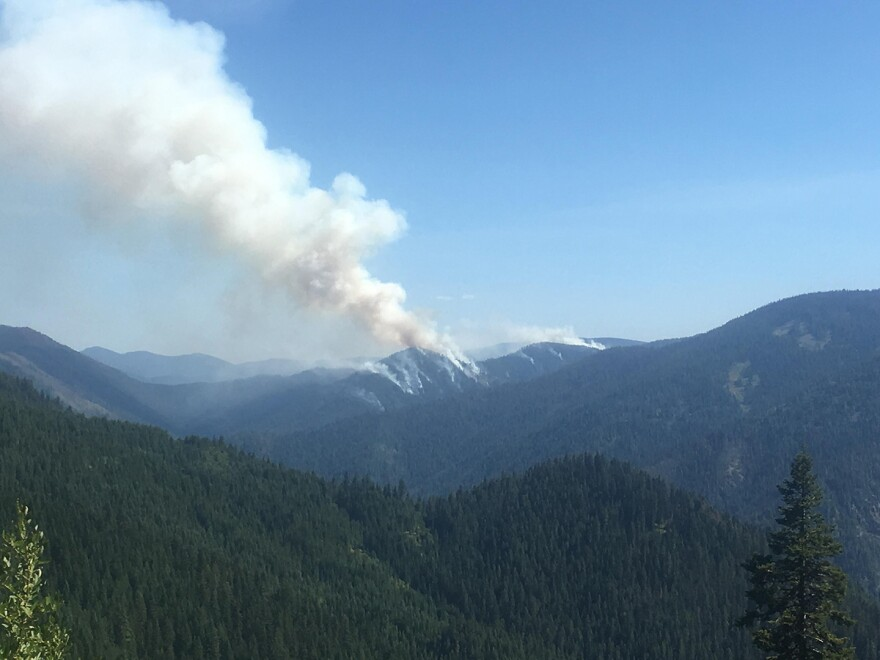 Barnard Junction prescribed fire on the Nez Perce-Clearwater National Forest seen from Cold Springs Road, August 28, 2019.