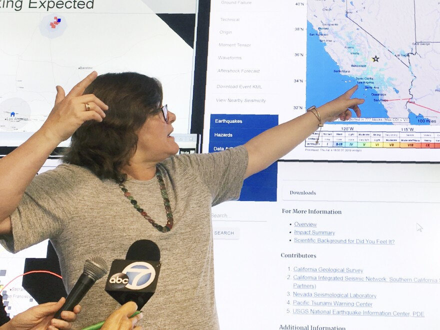 Seismologist Lucy Jones talks during a news conference at the Caltech Seismological Laboratory in Pasadena, Calif., on Thursday. A strong earthquake rattled a large swath of Southern California and parts of Nevada on Thursday morning.