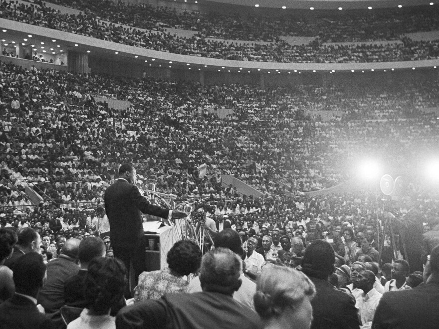Martin Luther King, Jr. speaks to a crowd in Detroit on June 23, 1963.