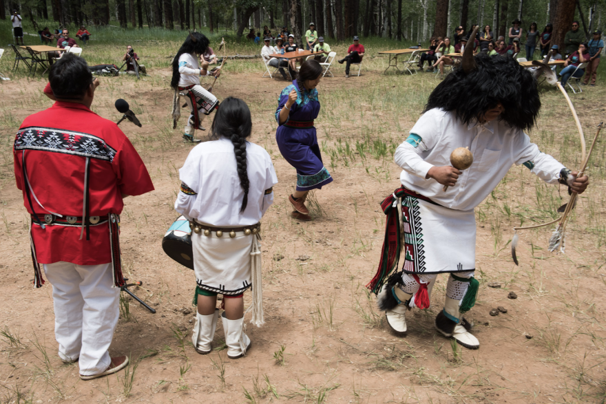 "Photo of dancers performing the ""Buffalo Dance"" at Bears Ears."