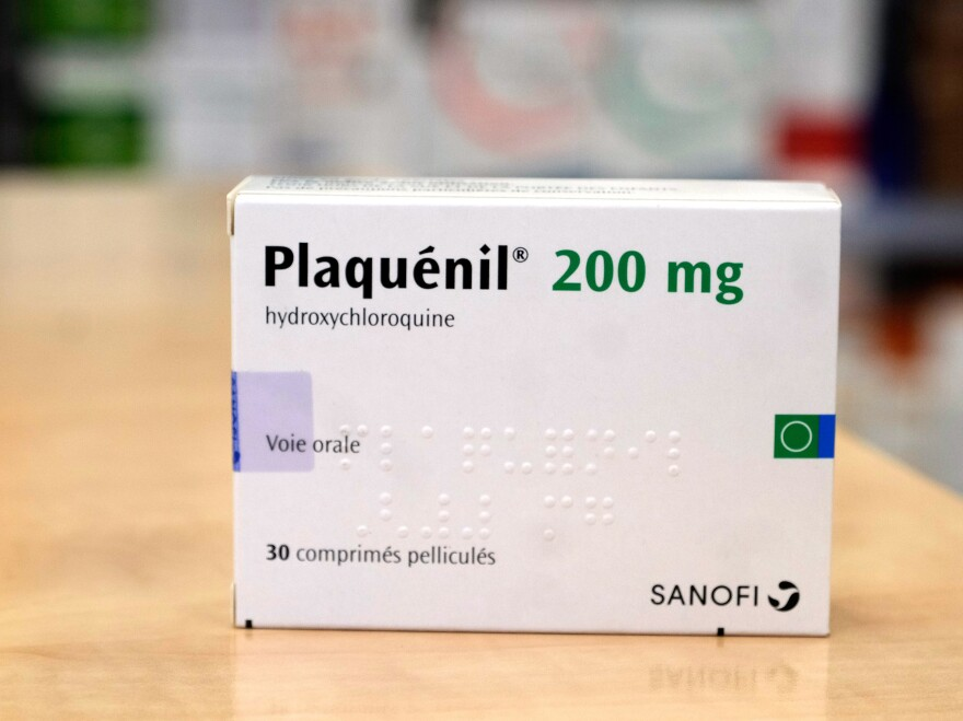 A pack of Plaquenil, (Hydrochloroquine) is displayed in a Parisian pharmacy on Tuesday in Paris, France. Chloroquine or Hydroxychloroquine, is now one treatments being evaluated in clinical trials as a possible preventative or treatment for COVID-19.