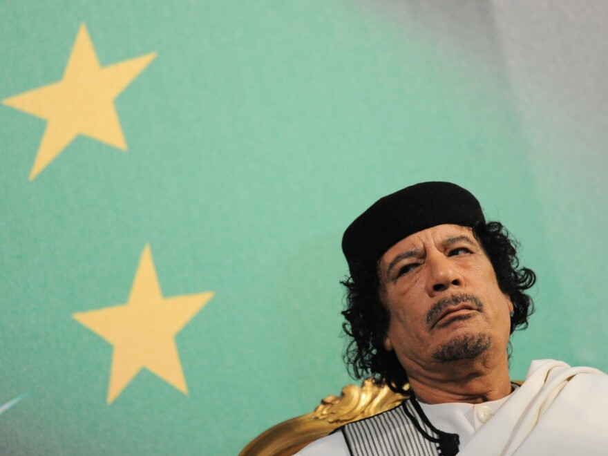 Libyan leader Moammar Gadhafi (shown in August 2010) sent a letter to President Obama on Wednesday. In it, Gadhafi appealed for an end to the NATO air effort over his country and wished Obama good luck in his 2012 re-election campaign.
