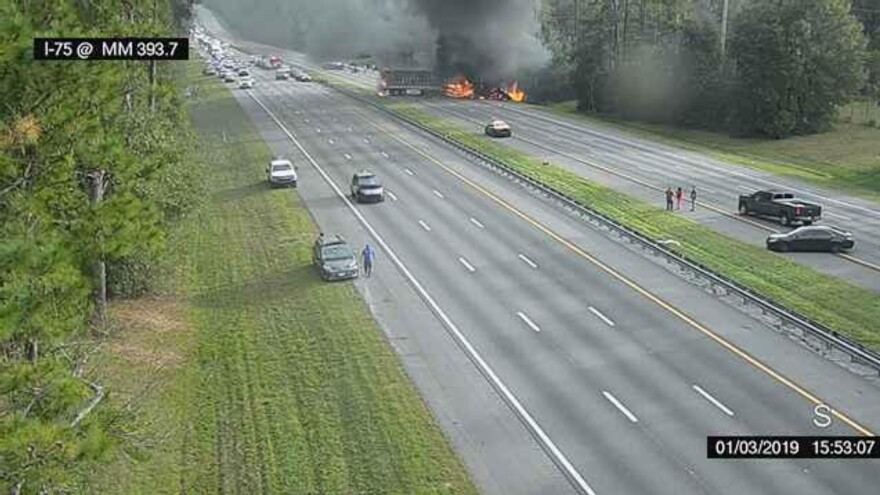This image taken from a traffic camera shows a fiery crash Thursday along Interstate 75 near Gainesville, Fla.