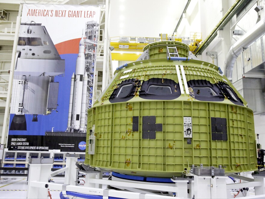 The Orion crew module, built by Lockheed Martin, is seen Feb. 3 at the Kennedy Space Center in Cape Canaveral, Fla.