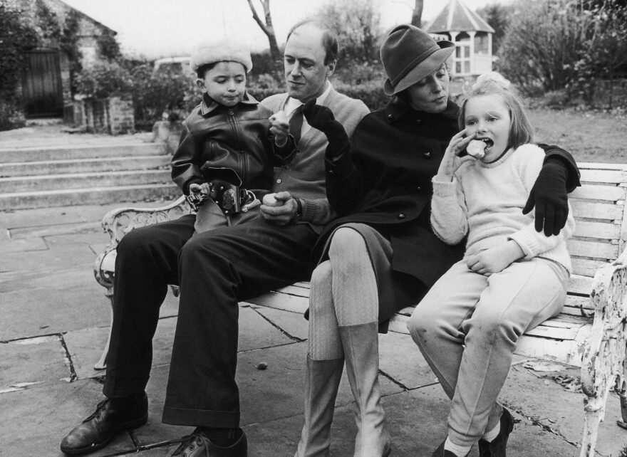 "Writer Roald Dahl and his wife, actress Patricia Neal, with two of their children, Theo and Chantel Sophia ""Tessa."" The photo was taken a few years after oldest daughter, Olivia, died of measles."