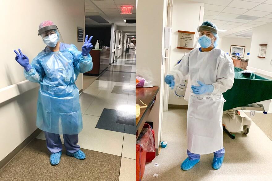 Rocio and Leo Nunez in their scrubs at a hospital in Detroit.