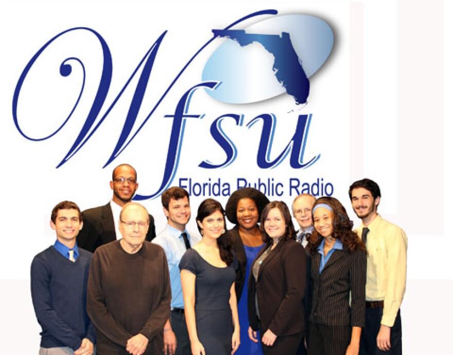 WFSU News team in front of WFSU-FM logo