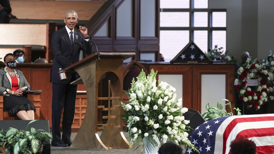 Former President Barack Obama tells mourners Thursday at Ebenezer Baptist Church in Atlanta that they can honor the late Rep. John Lewis by helping to revitalize voting rights.