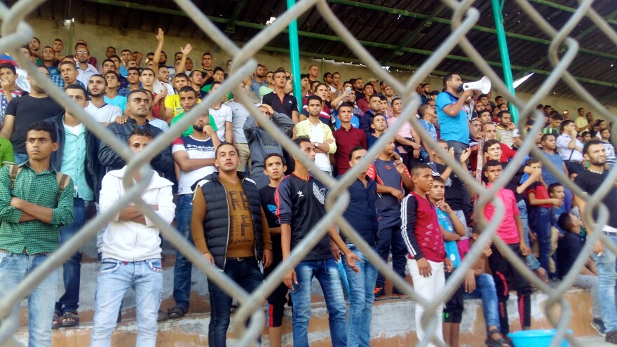 Many of the crowds at the soccer games Abu Qassem staffs are all-male, like this one from a recent professional soccer match in Gaza City.