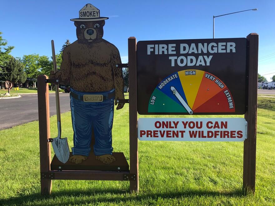 A National Forest Service fire danger sign.