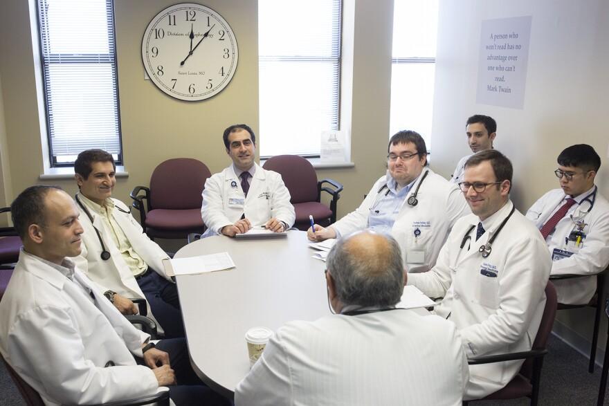 Dr. Bahar Bastani, a nephrologist, speaks to his team at Saint Louis University Hospital on March 2, 2017.