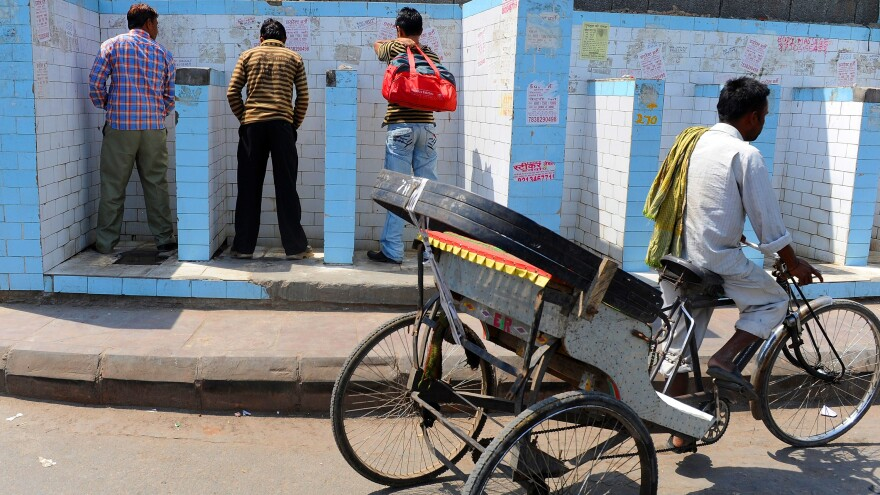 Indian men use a roadside public urinal in New Delhi.