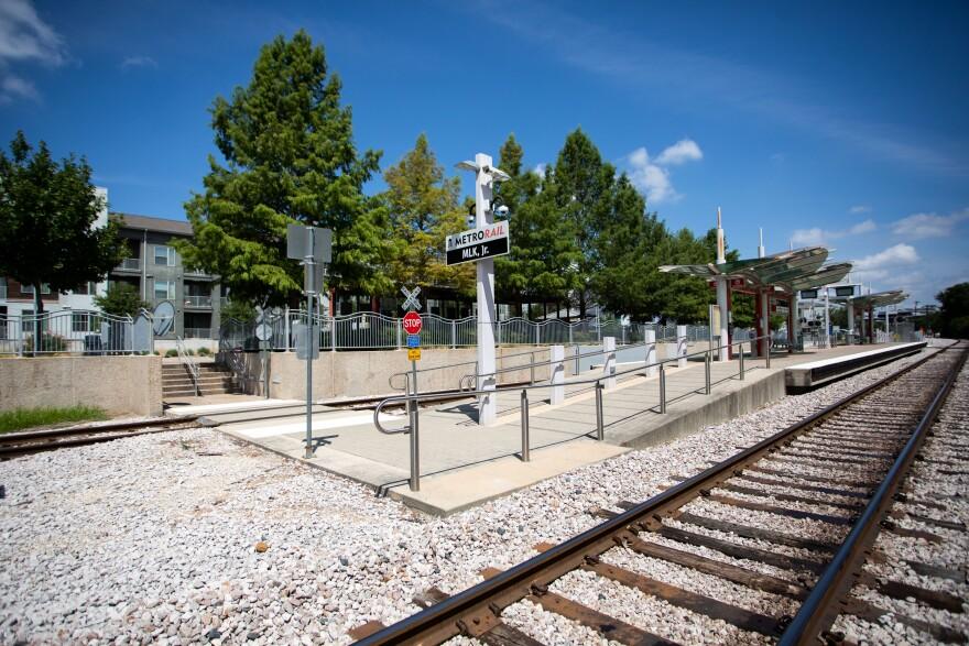 Capital Metro's MLK Jr. rail station is adjacent to Platform Apartments in East Austin.
