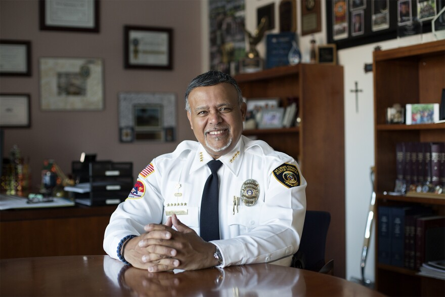 Raul Banasco, director of St. Louis County's Department of Justice Services, poses for a portrait in his office.