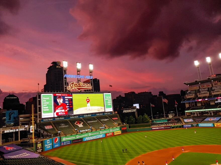 A photo of the field when the Indians played the Cubs.